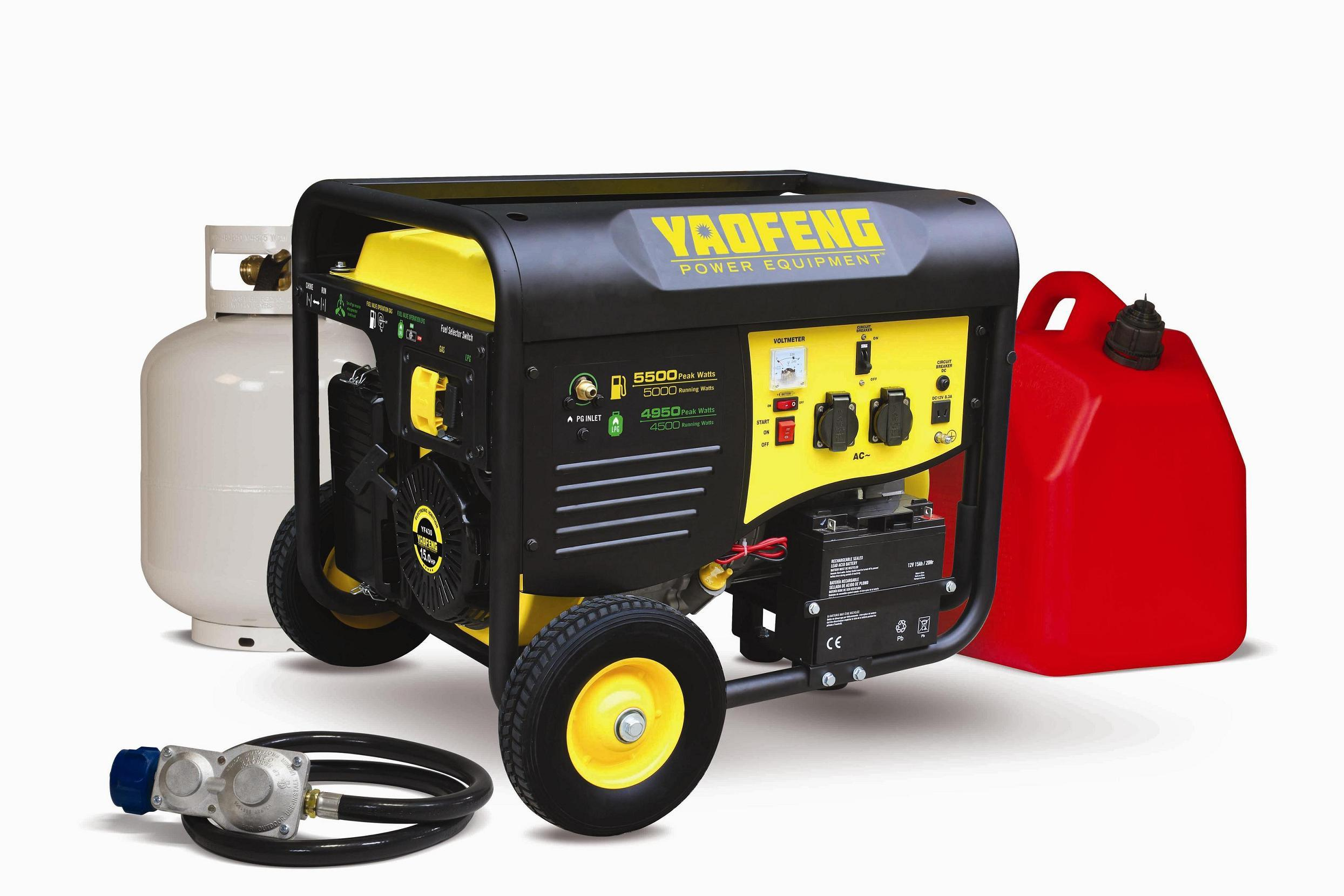 5000 Watts Electric Power Gasoline and LPG Generator with EPA, Carb, CE, Soncap Certificate (YFGP6500DE2)