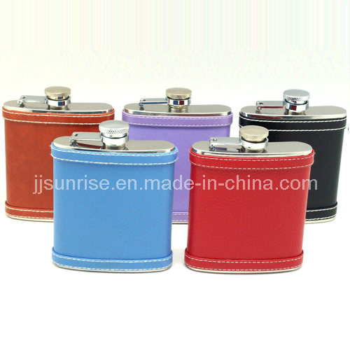 Stainless Steel Hip Flask with Cigarette Case ((JJ-FK96-6oz(FkCgc)-2))