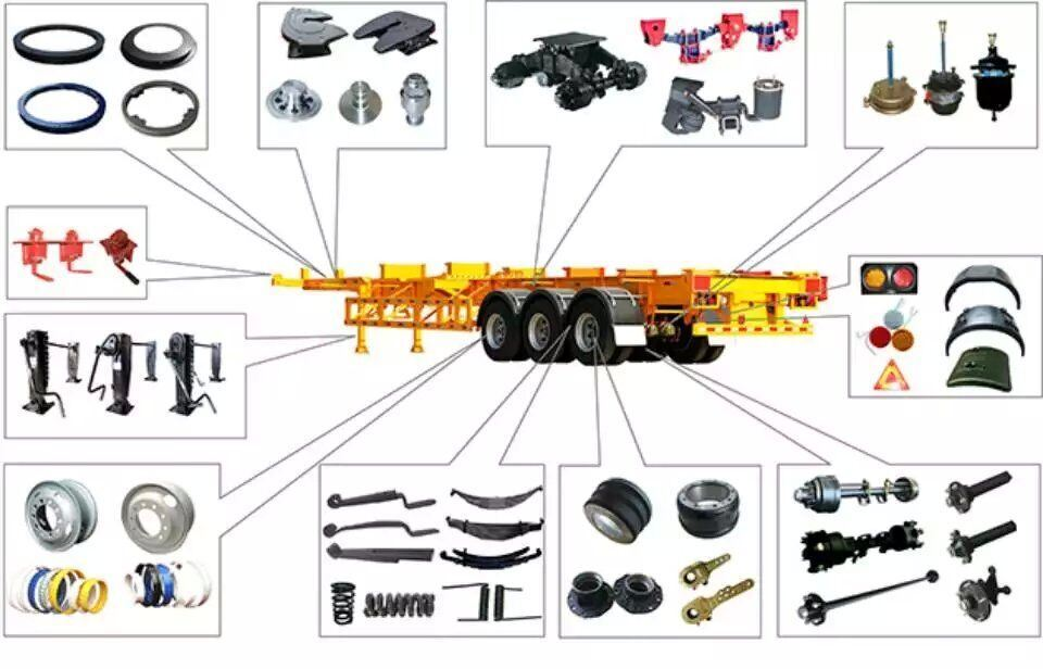 Semi Trailer Parts Includes Tandem Mechanical Suspension / Axle / Jost Holland Fuwa Type 28ton Landing Gear Leg / Tra Leaf Spring / Turntable / Twist Lock