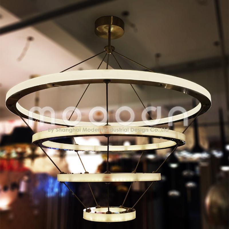Modern Hanging Gold Big Art Deco Copper Brass Circle LED Ring Light Chandelier
