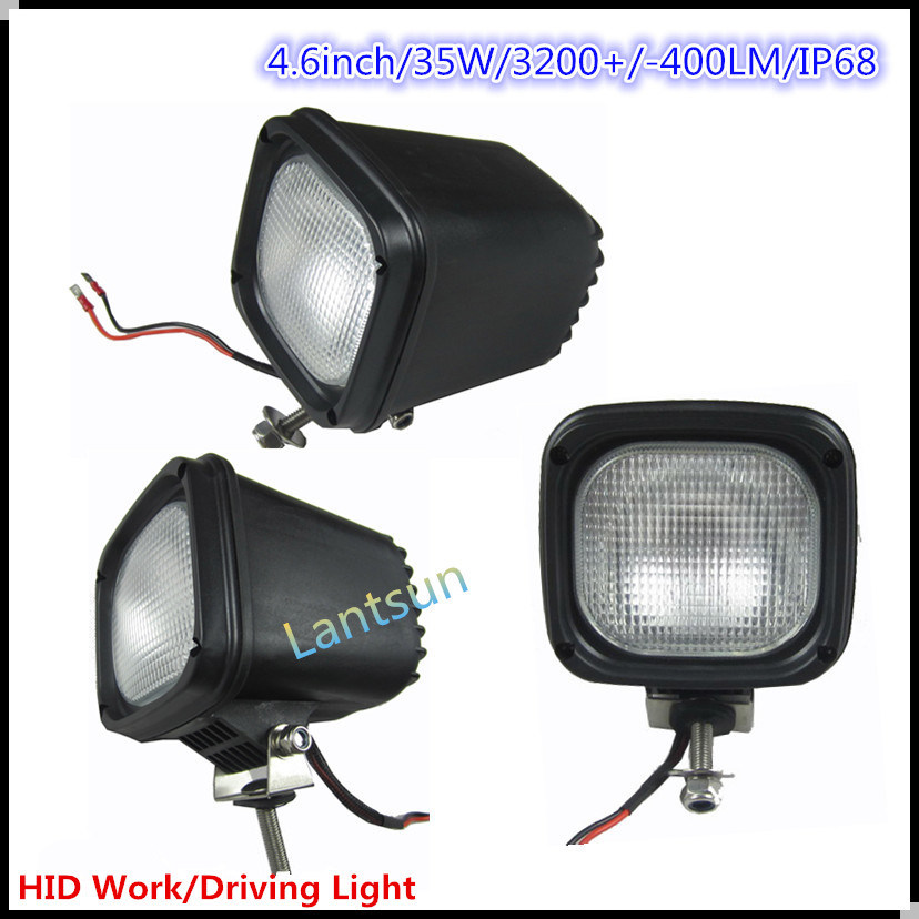 Square 35W HID Driving Light for Truck SUV ATV 4WD