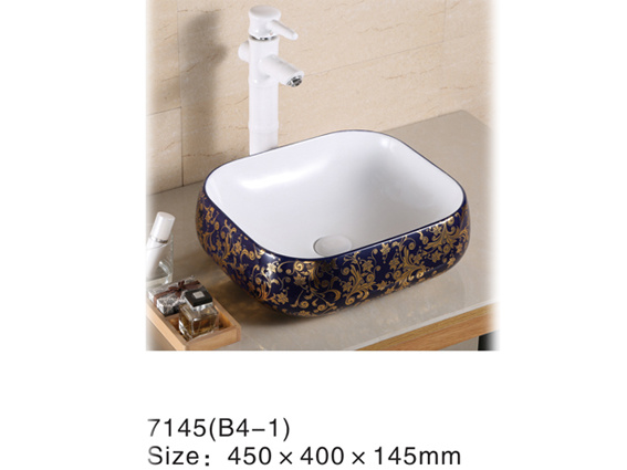 7146bd Ceramic Blue Color Wash Basin with Golden Flower Decal