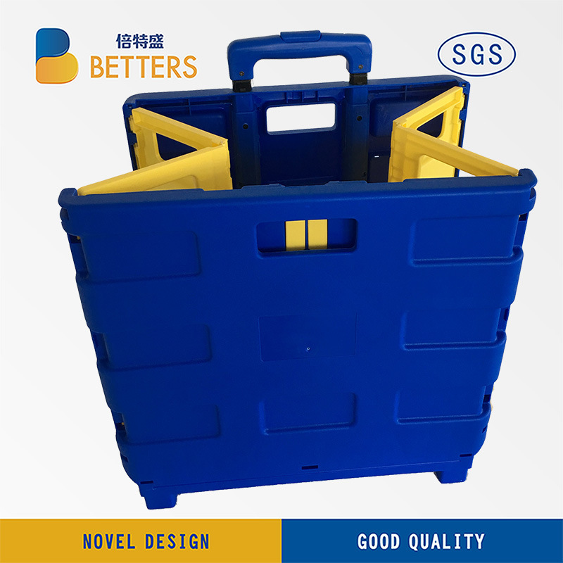 Betters Yellow & Blue Folidng Shopping Trolley