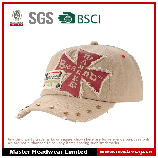 Rivet Brim Soft Panel Wash Baseball Cap with Applique Embroidery