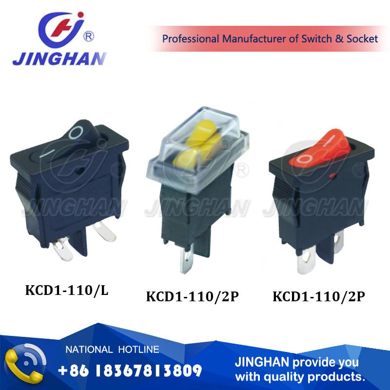 Kcd1-110 Square Rocker Switch 21*10mm/ 2pin Right Angle Single Pole Rocker Switch