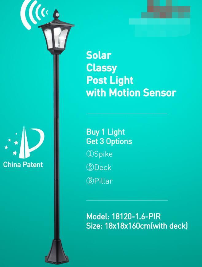 Solar Glassy Post Light with Motion Sensor