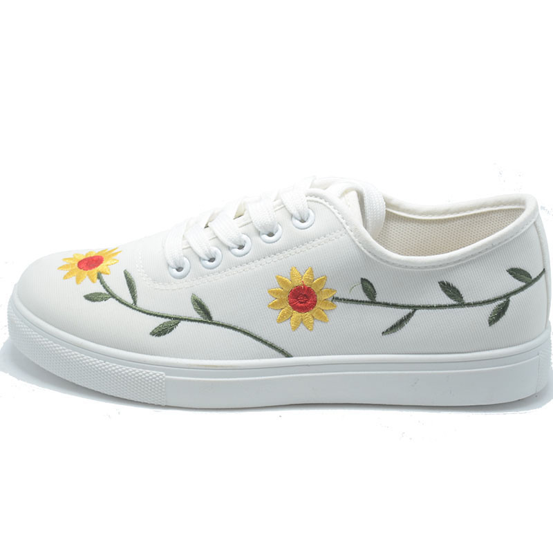 New Embroidery Sunflower Classical Student Women Men Rubber Shoes