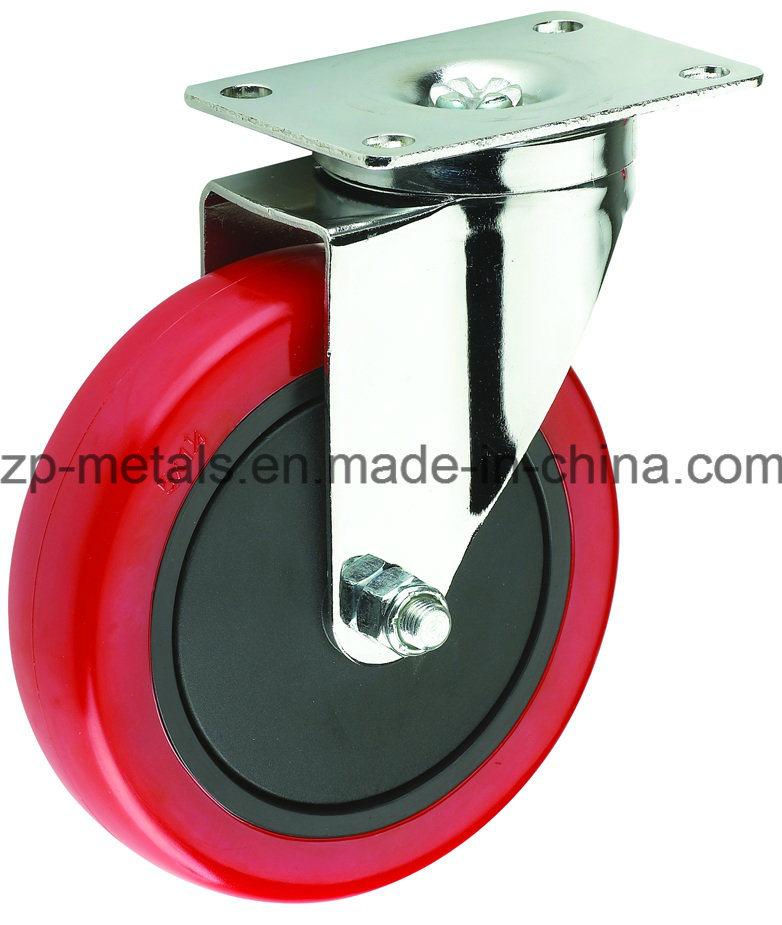 3inch Medium-Duty Red PVC Swivel Caster Wheel