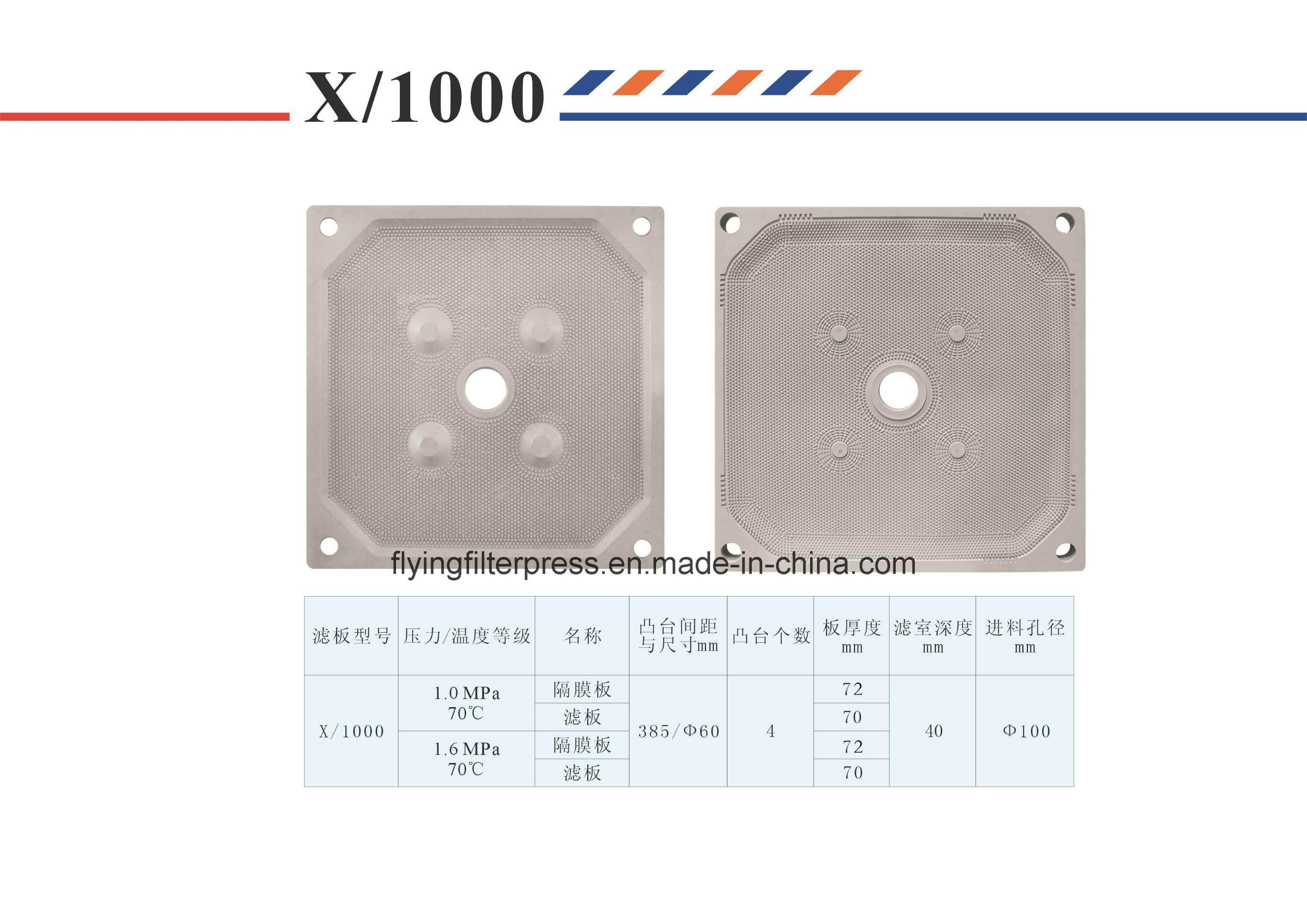 Flying PP Membrane Filter Plate X1000