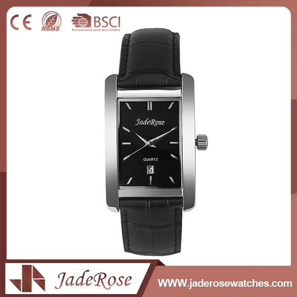 Custom Black Leather Quartz Wrist Watch