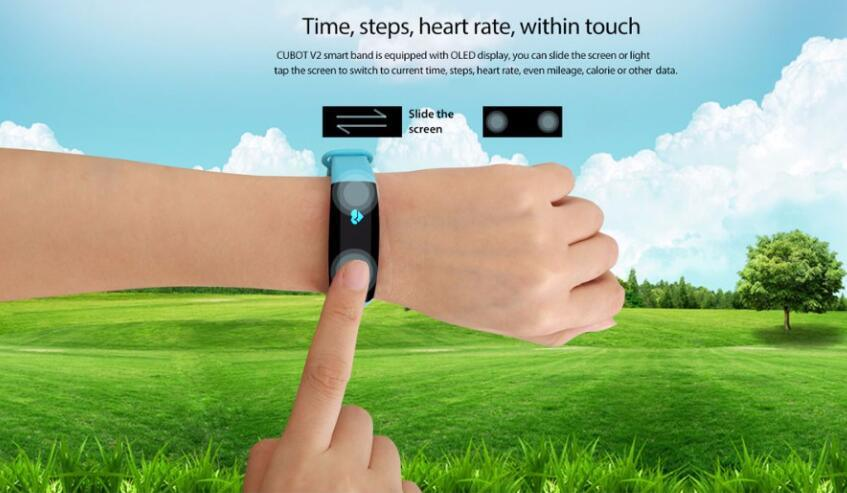 Cubot V2 Smart Band Heart Rate Monitor GPS Sports Bracelet Fitness Tracker Pulse Waterproof Wristband Watch for Ios Android Smart Phone Black Color