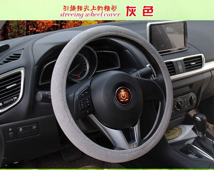 Cheap Low Cost Linen Car Steering Wheel Cover Sleeve Accessories