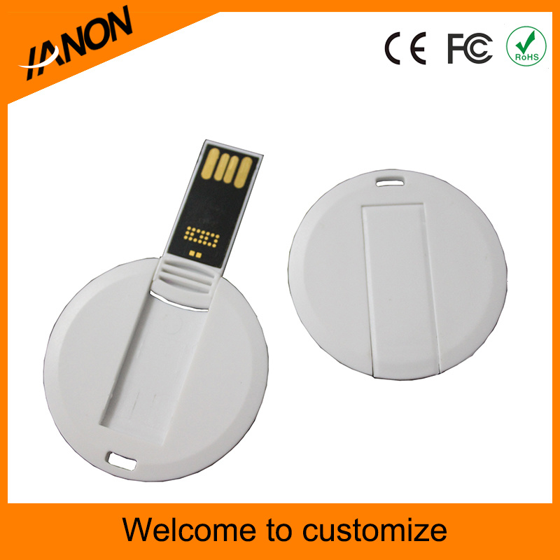 Circular White Card USB Flash Drive with Digital Logo