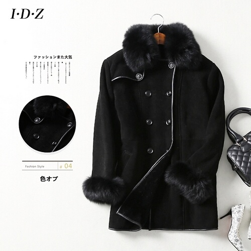 Women′s Leather and Fur Coat Winter Jacket