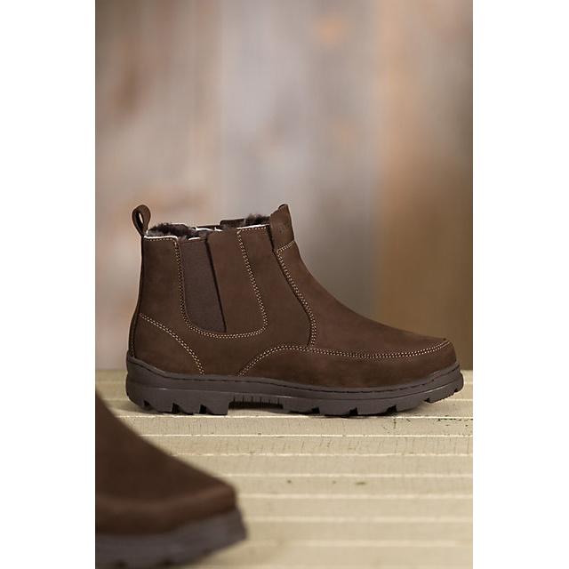 Shearling-Lined Suede Ankle Men Boots