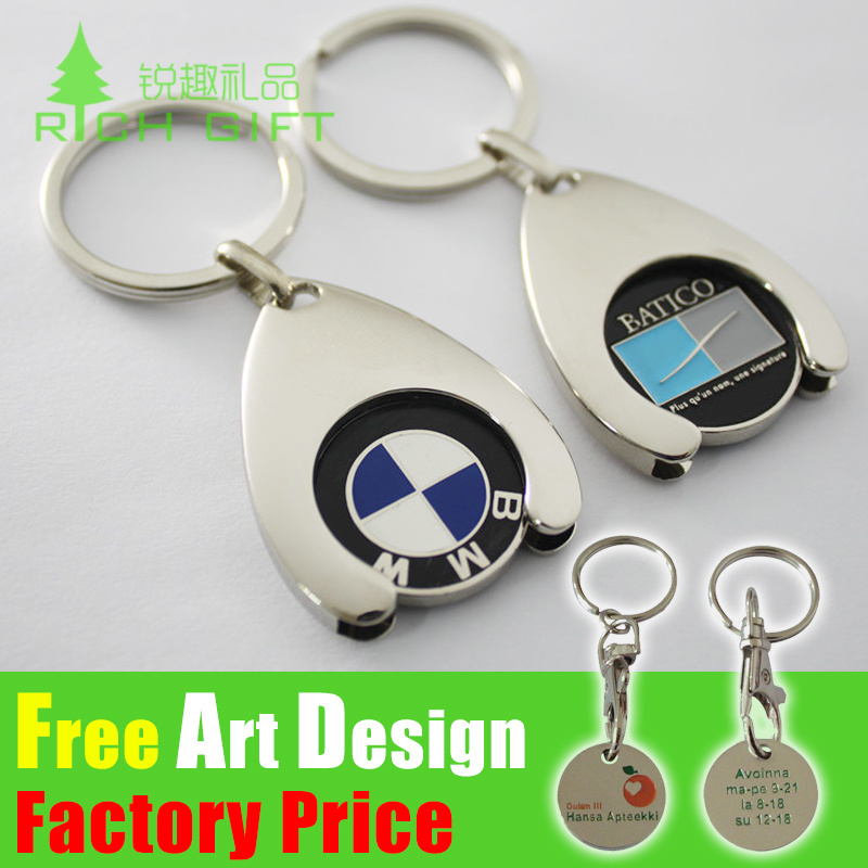 Metal Coin Keyrings, Trolley Key Rings, Supermarket Shopping Key Chains for Promotion Gift