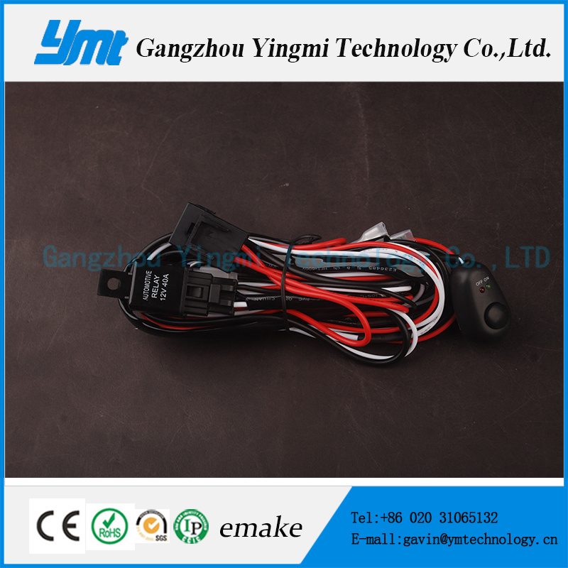 12V 24V 40A 72W LED Work Light Bar Wire Harness