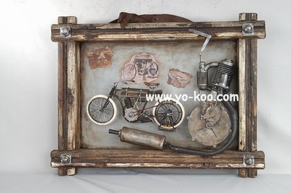 China Home Decor Decorative Frame With Antique Motorcycle