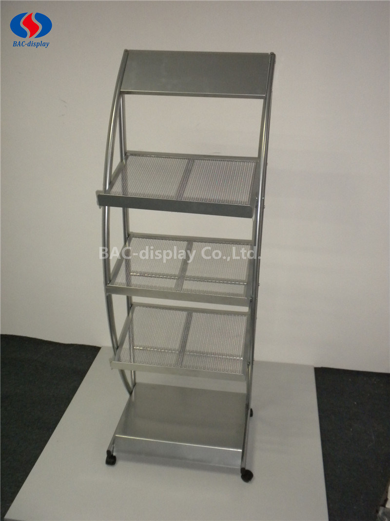 OEM Movable Metal Magazine Display Rack with 4 Wheels