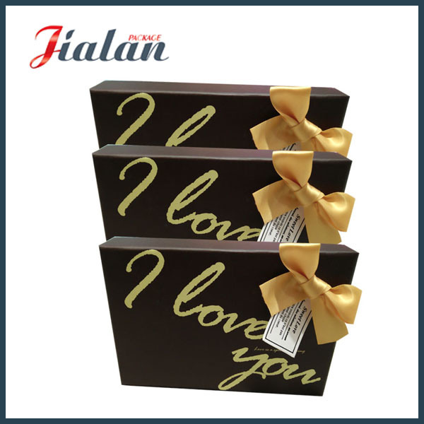 Wholesales Customize Logo Printed Ribbon Bow Cardboard Brown Paper Box