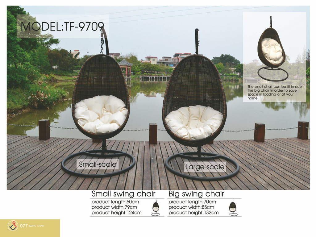 New Design Rattan Wicker Hanging Swing Egg Chair with Cushion