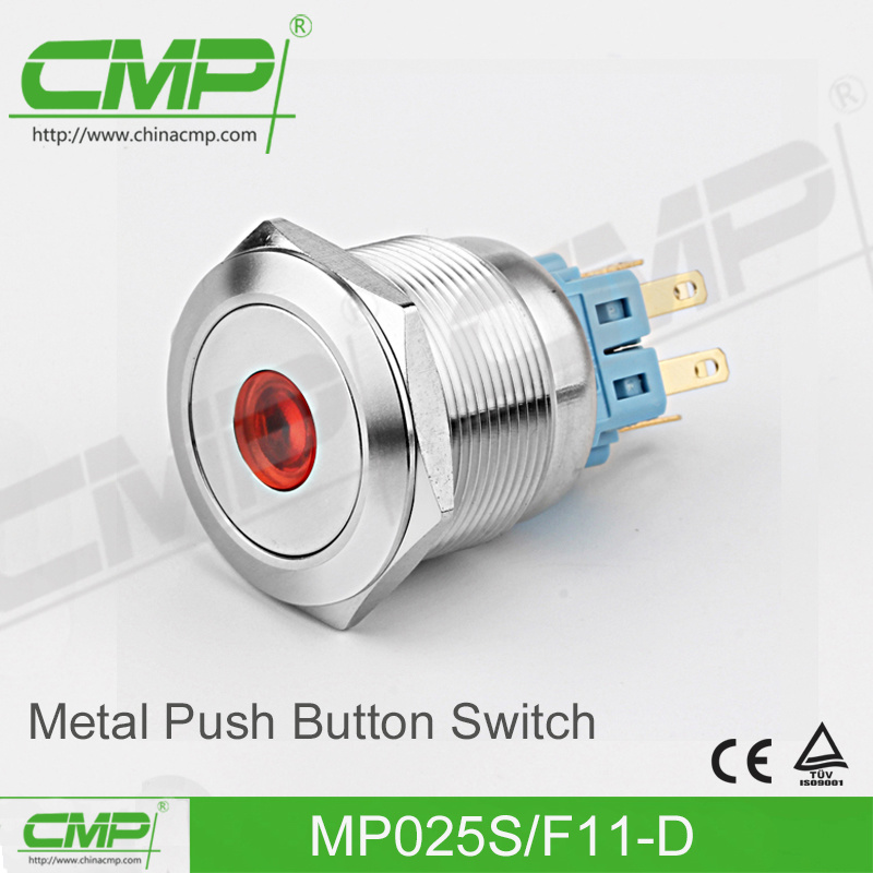 Vandal Resistant Momentary Push Button Switch (25mm, Flat Head, 1no1nc)