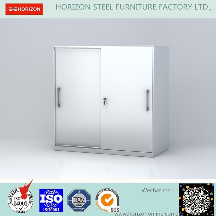 Steel Low Storage Cabinet Office Furniture with Double Sliding Doors Metal Handles /File Cabinet