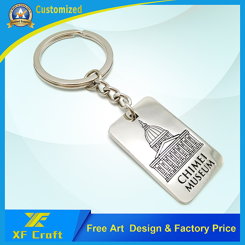 Promotion Metal Keychain with Silver Color and Keyring for Logo (XF-KC02)