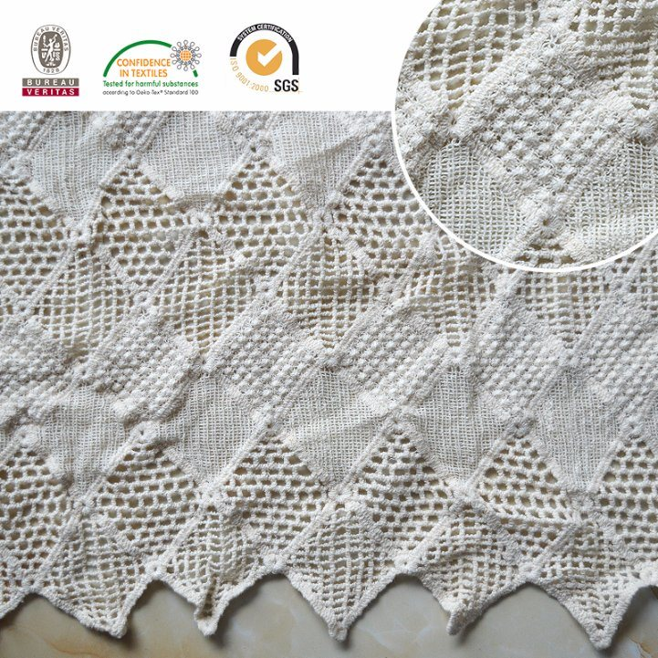 Square Cotton Chemical Lace Fabric Garments Accessories with High Quality E10037