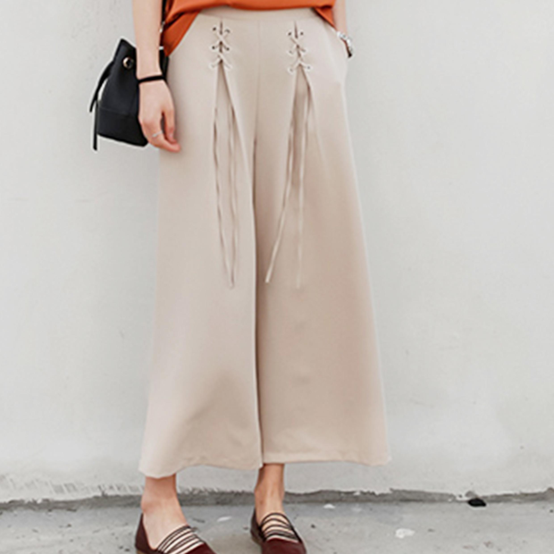 Ladies Fashion Loose Wide-Legged Bandage Preppy Style Pants