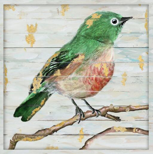 Handmade Foil Gold Bird Oil Painting on Wood Frame (LH-B17022)