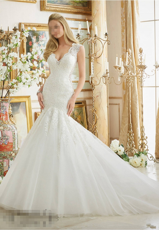 2016 Mermaid off-Shoulder Bridal Wedding Gown 2882