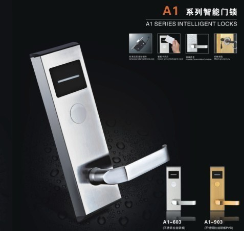 A1-603 Key Card Electric Door Hotel Lock with Software