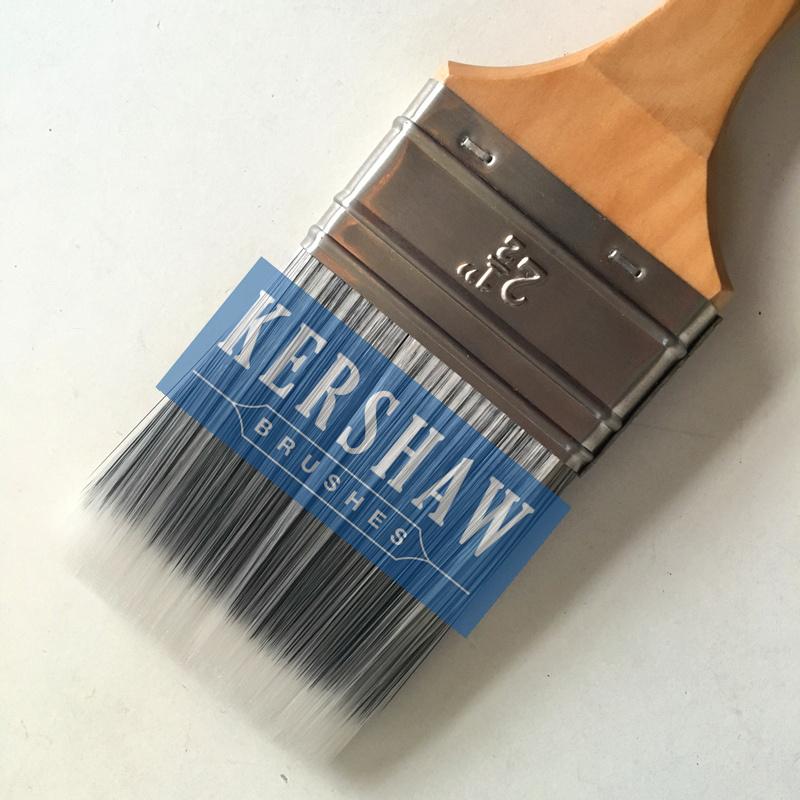 Paint Brush (paintbrush, black & white tapered filament flat brush with hard wood handle)