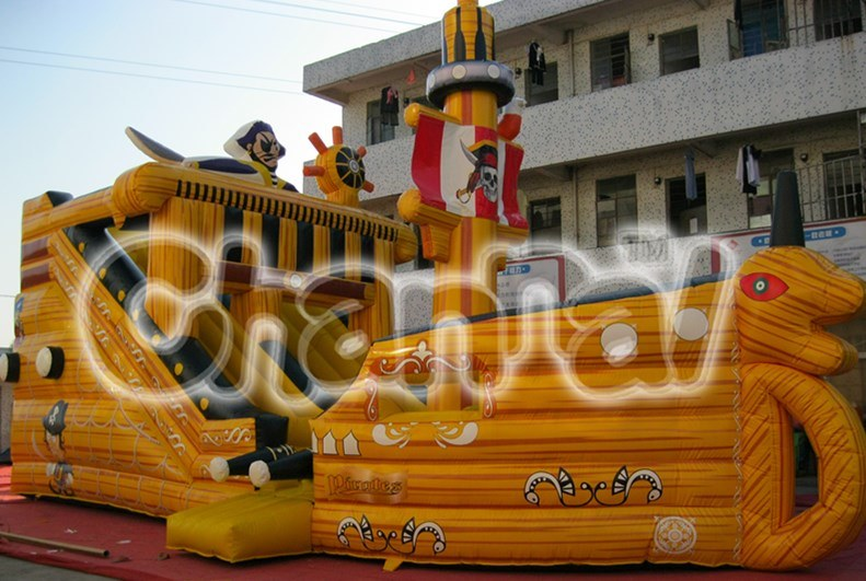Giant Pirate Ship Commercial Inflatable Slide for Sale Chsl117