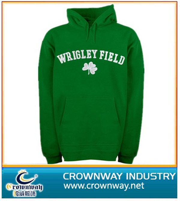 Green Hoodies with White Embroidery Logo on The Chest
