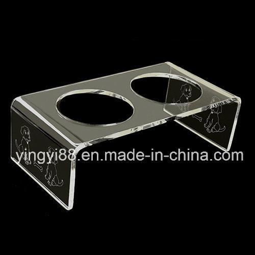 Custom Clear Acrylic Plexiglas Pet Feeder Table W/Dog Engraving, Cat Bird Rabbit Duck