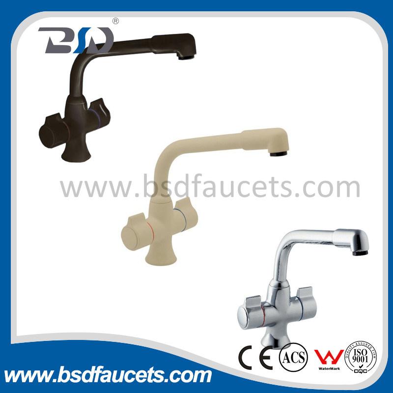 Deck Mount Cheap Chrome Kitchen Dual Handles Sink Faucet Mixer