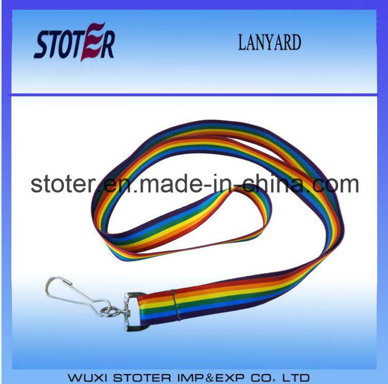 Promotional All Kinds Custom Polyester Rainbow Lanyard