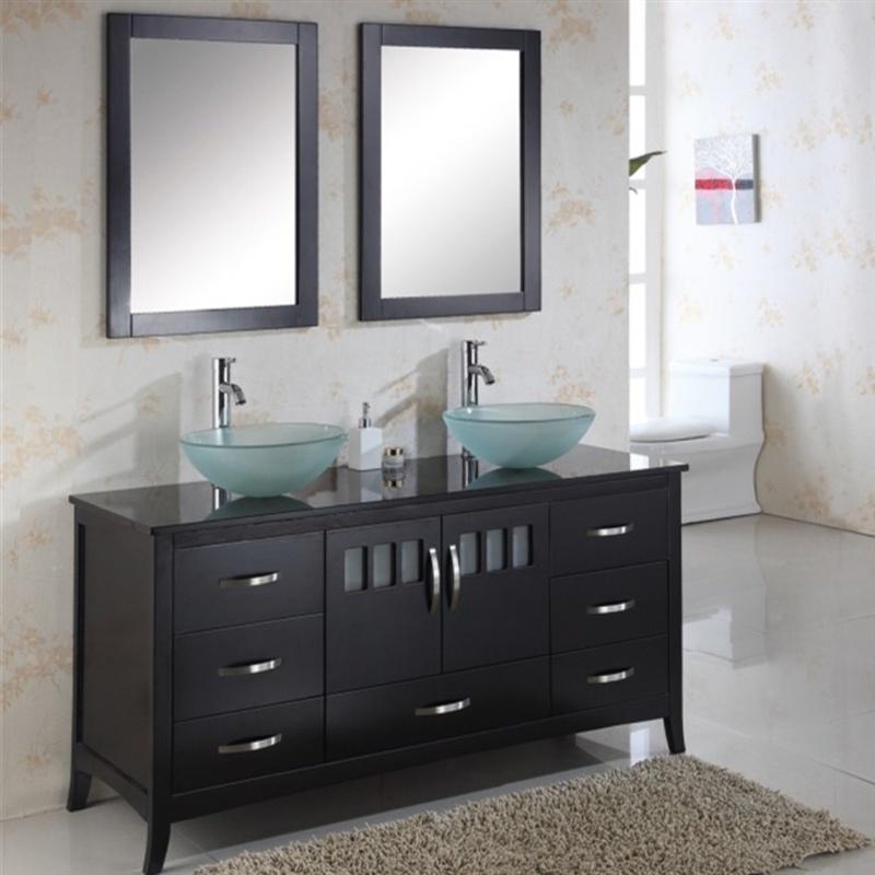 Hotel Floor Mounted Double Sink Solid Wood Bathroom Furniture