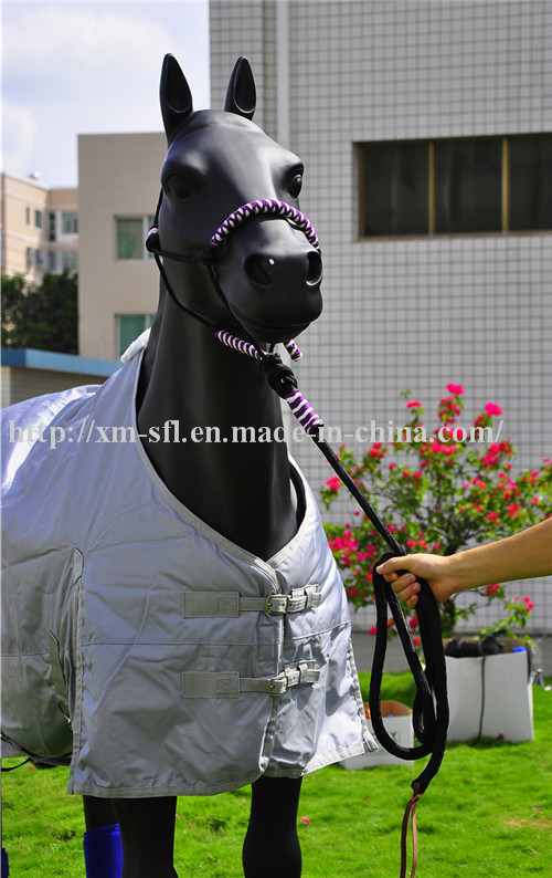 Braided PP Horse Halter with Lead Leather Strip End