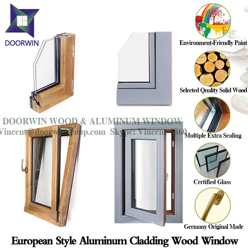 Hemlock / Oak / Teak Wood Aluminum Tilt & Turn Window, Highly Praised Wood Clad Aluminum Casement Window