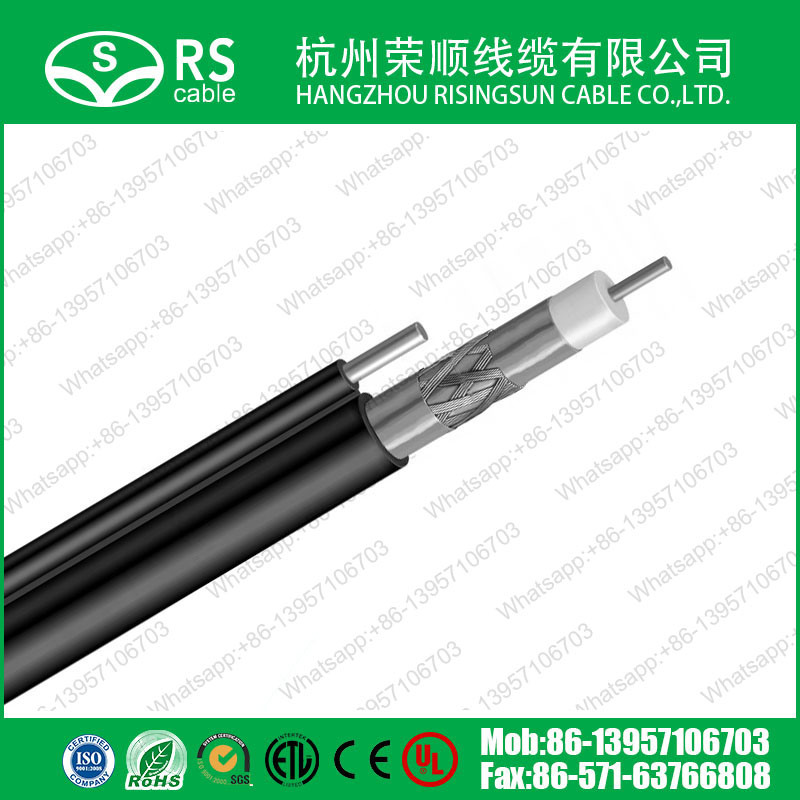 RG6 Tri-Shield Messenger Coaxial Cable Grey Color CATV System