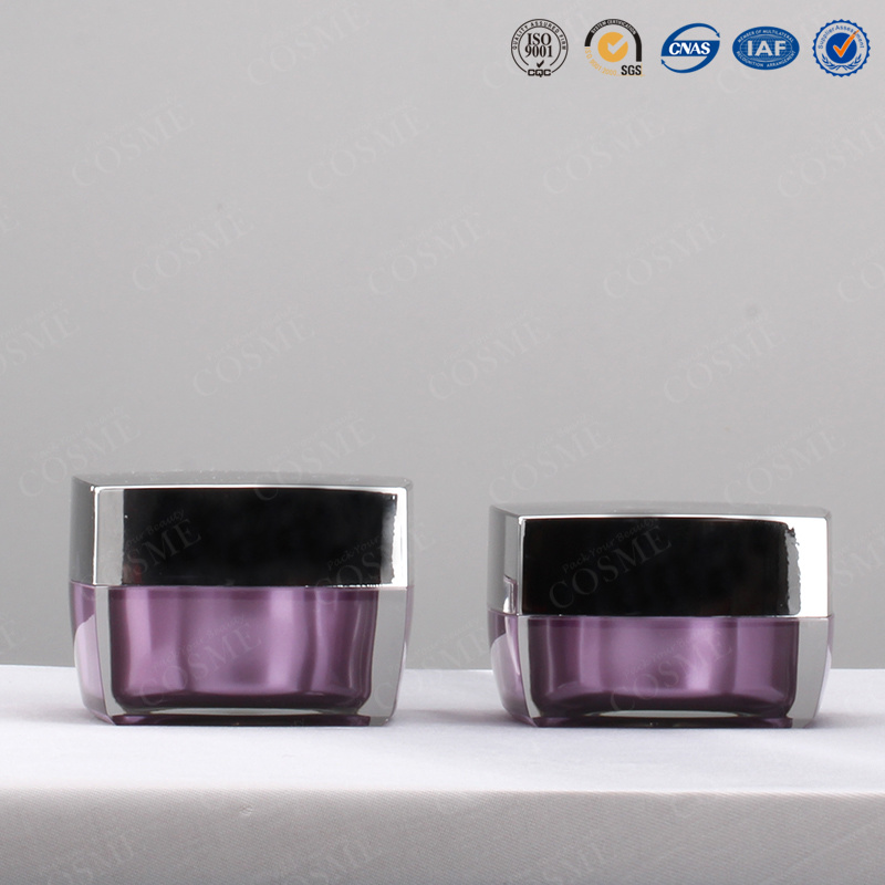 Silver Gold Square High Quality Plastic Acrylic Cosmetic Packaging Cream Jar for Luxury Cosmetics