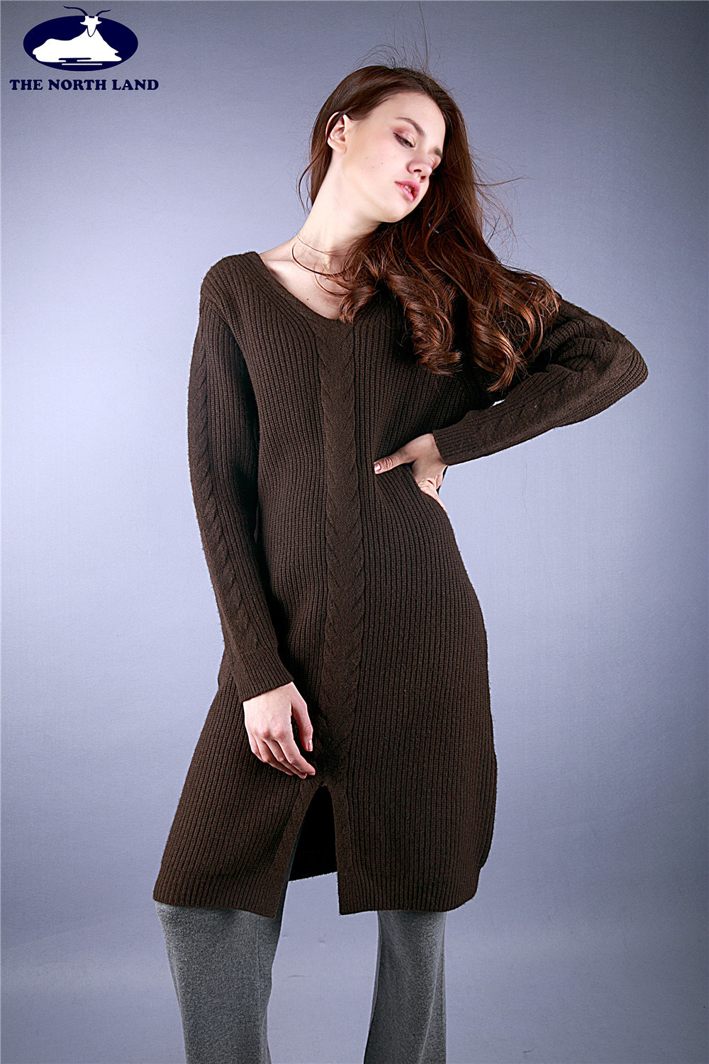 Cashmere Ribbed Long Pullover with Cables