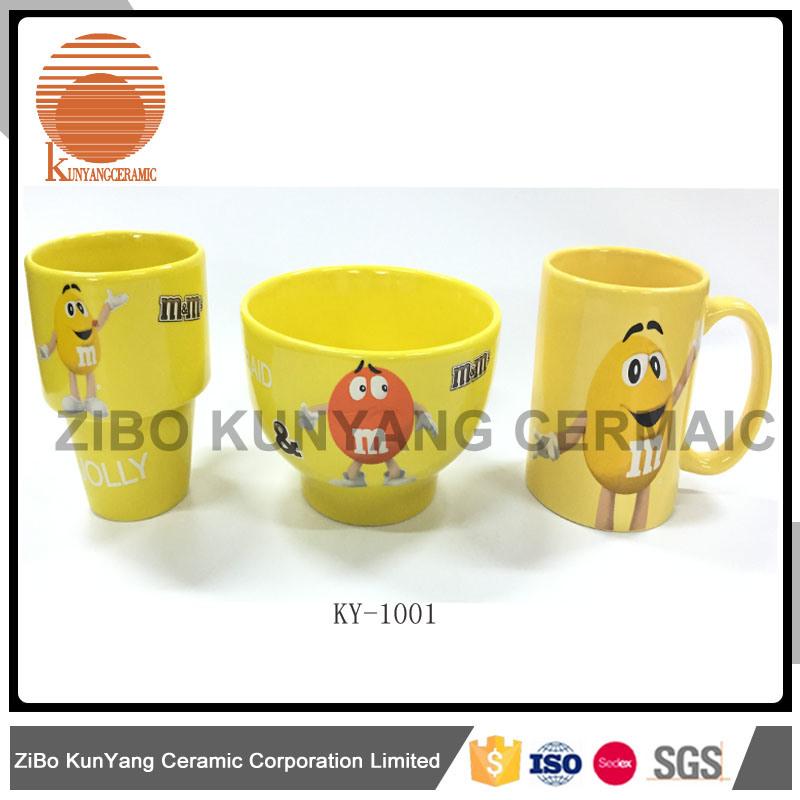 Mars mm Yellow Decal Mug with Bowl Set
