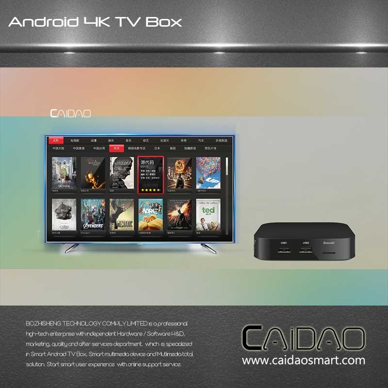 Smart TV Box Based on Arm Cortex A53 64bit Processor. 2GB+32GB Quad Core Tvbox Customization