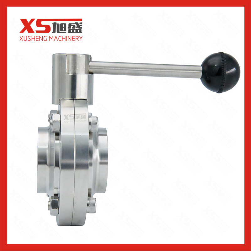 Food Grade Stainless Steel Sanitary Manual Weld Butterfly Valves