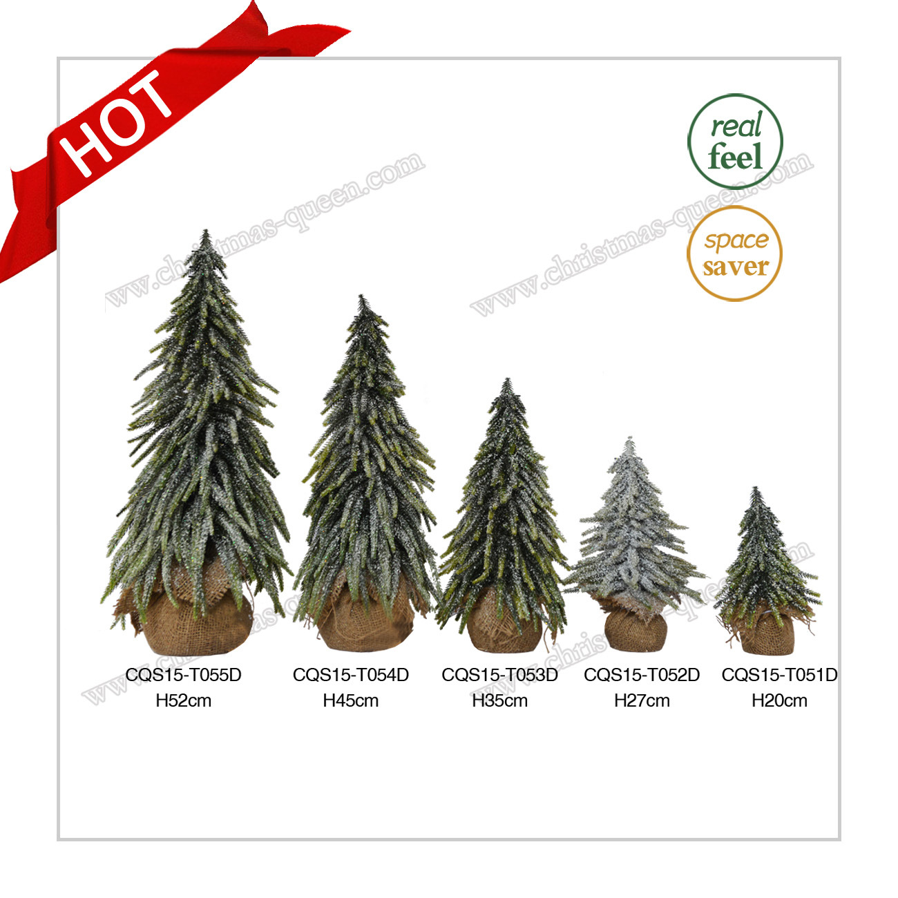 H20-52cm Handmade Gift Plastic Artificial Christmas Tree Decoration