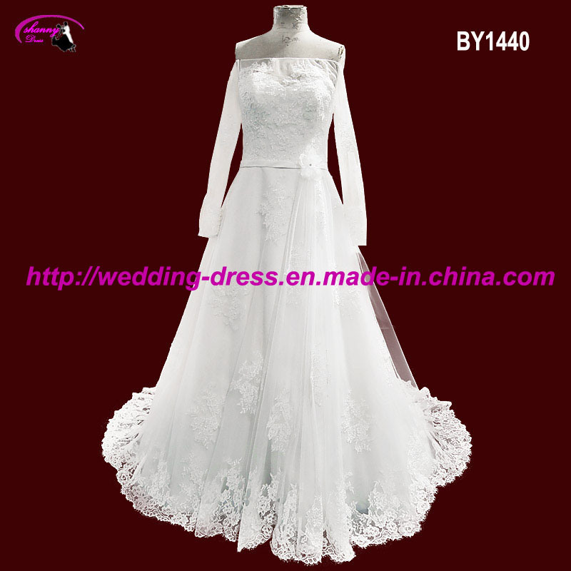 off-Shoulder Bridal Wedding Dresses with Long Sleeves